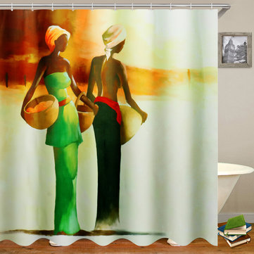 3D Bathroom Shower Curtain African Woman Shower Curtain Black Girl Bathroom Waterproof Polyester Fabric for Bathtub Decor 12 Hooks