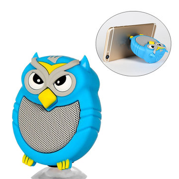 FINBY Mini Owl Suction Cup Phone Holder Hands-free Microphone TF Card AUX Stereo Bluetooth Speaker