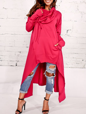 Plus Size Women Casual Long Sleeve Hoodies Long Blouse