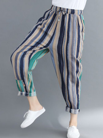 Casual Women Stripe Elastic Waist Patchwork Harem Pants
