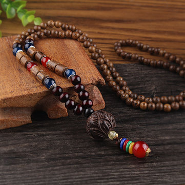 Vintage Multicolor Wood Beads Necklace Retro Long Sweater Pendant Necklace for Women