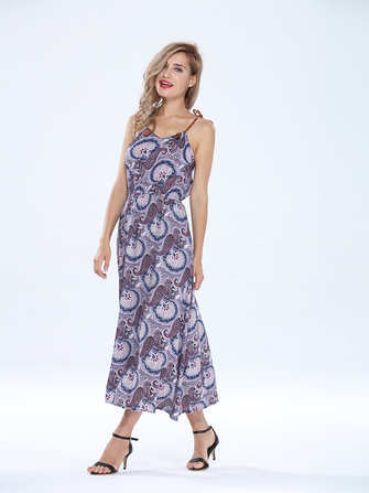 Bohemian Sexy Women Halter Pattern Printed Party Maxi Dress