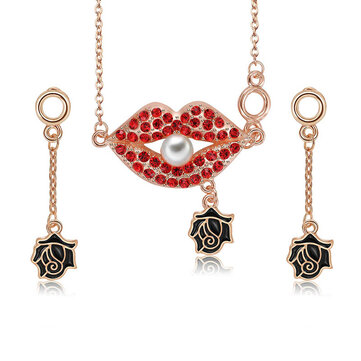 Trendy Women Party Jewelry Set Punk Red Rhinestone Red Lip Pearl Necklaces Black Rose Earrings Gift