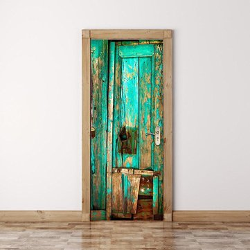 3D Door Wall Vintage Green Wooden Door Self Adhesive Mural Decals Wall Sticker Home Decor
