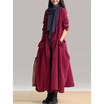 Pockets Lace-up Long Outerwear Coats