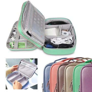 BUBM Small Size Double Layers Waterproof Digital Accessory Earphone Cable Organizer Storage Bag