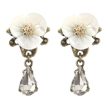 JASSY® Elegant White Shell Flower Crystal Earring
