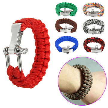 23cm U Shape Steel Buckle Outdoor Bracelet Parachute Cord Rope Woven EDC Survival Wristband