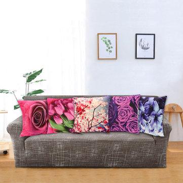 3a serie di fiore piena di colore federa di tiro lussuosa corta copertura di cuscino d'auto di sofà familiare
