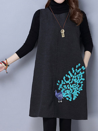 Vintage Women Embroidery Sleeveless Vest O-Neck Winter Dress