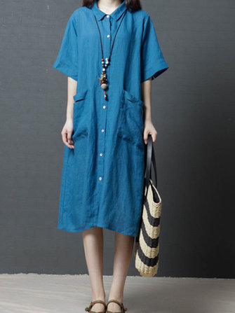 Ramie Solid Color Pocket Short Sleeve Shirts Dress