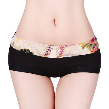 Comfort Mid Waist Boyshorts Floral Printed Lace Hips Up Pistolas respiráveis