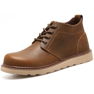 W50 Men's Casual Sport Width Fit Leather Soft Flats Retro Martin Work Boots Hiking Shoes