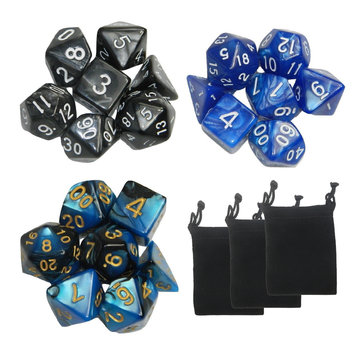 21 Pcs 3 Colrs Polyhedral Dice Sets Multisided Dice Role Playing Game Dice Gadget