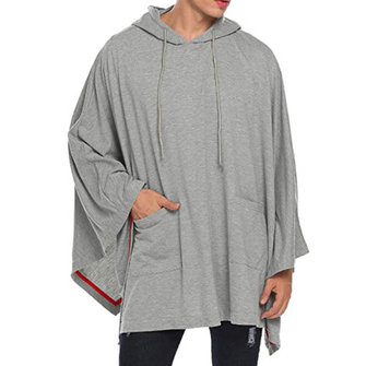 Mens Bat Style Casual Hooded Cloak Pockets Cardigans
