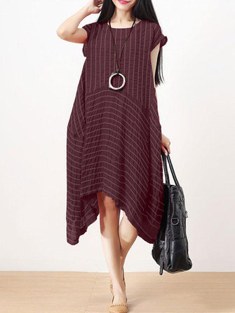 Women Striped Short Sleeve Irregular Dress