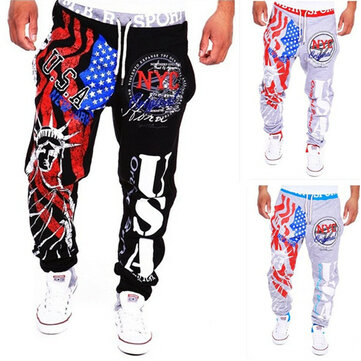 Men's Lace-Up Fashion Sports Jogger Pants Statue of Liberty American Flag Printing Hip-hop Sweatpants