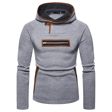 Men's Fashion Unique Zipper Decoration Loose Casual Overhead Long Sleeve Hooded Sweatshirt