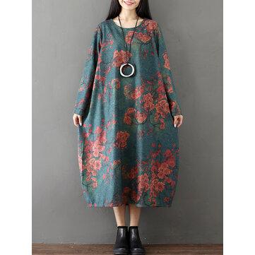 빈티지 여성 꽃 프린트 오 - 넥 느슨한 미디 드레스와 소매