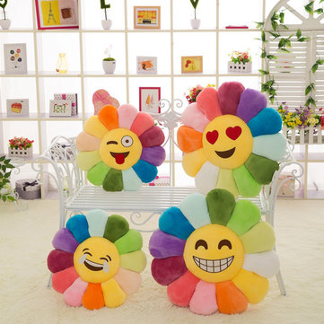 Creative Emoji Expression Candy Color Sunflowers Throw Pillow Plush Sofa Car Office Back Cushion