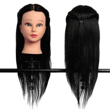 100% prática modelos cabelos longos verdadeiro cabeleireiro cabeça treinamento com polegadas clamp18