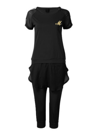 Casual Women Solid Color Elastic Waist Short Sleeve Tracksuit