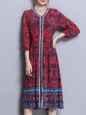 Elegant Blom Print V-Neck Silk Bell Sleeve Dress