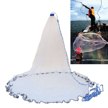 2.4m-4.8m Large Hand Cast Fishing Net Spin Network Bait Fish Net Portable Sinker Net