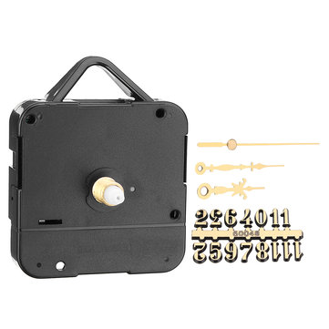17mm Silent Quartz Clock Movement Kit with Gold Digital Card Hour Minute Second Hand