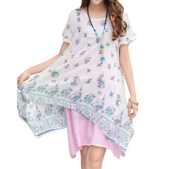 Women Print Fake Two Pieces Irregular Hem Dresses Short Sleeve Round Neck Dresses