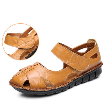 SOCOFY Genuine Leather Shoe Hollow Out Breathable Hook Loop Sandals