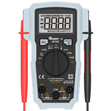 MUSTOOL MT66 True RMS 5999 Counts Digital Multimeter AC/DC Current Voltage Frequency Resistance Capacitance Temperature Tester Duty Cycle Diode Continuity V~Alert Measurement