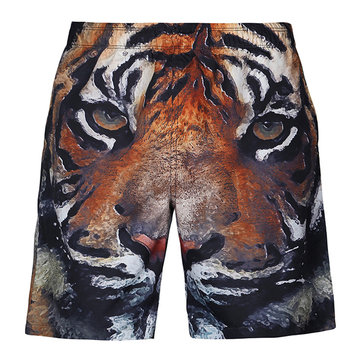 S5254 Beach Shorts Board Shorts 3D Tiger Head Printing Fast Drying Waterproof Elasticity Good Feel