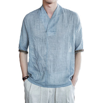 Men's Vintage Chinese Style Cotton Linen Tops Breathable Solid Color V-neck Casual Loose T-Shirts