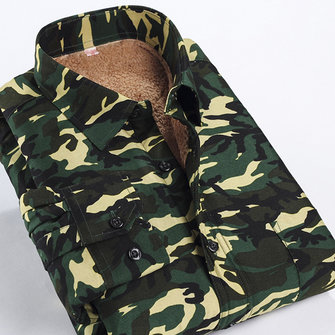 Mens Camouflage Printing Thick Fleece Fashion Casual Autumn Winter Shirt Turn-down Collar