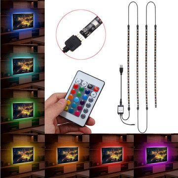 4X50CM USB RGB 5050 LED Waterproof Strip Light TV Backlilghting Kit + 24 Key Remote Control DC5V