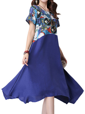 Women Folk Style Printed Patchwork Linen A-Linen Swing Dress