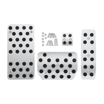 4Pcs Car Aluminium Alloy Foot Brake Pedal Covers Sticker Pad for VW Touareg 2014-2015