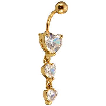 Gold Navel Belly Ring Heart Rhinestone Sexy Body Piercing Jewelry