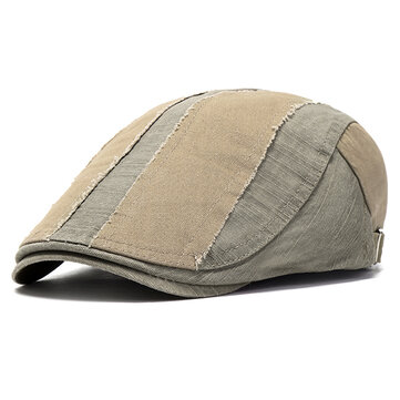 Mens Washed Cotton Patchwork Beret Hat Buckle Adjustable Sunshade Visor Newsboy Dad Hat