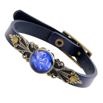 Retro Unisex Twelve Constellations Alloy Leather Bangle Anti-fatigue Adjustable Bracelet