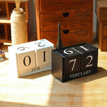 Vintage Perpetual Year Table Desk Wooden Calendar Wood Block Office Desktop Decoration Accessorie