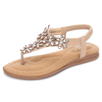 SOCOFY Women Bohemian Crystal Flower Clip Toe Casual Flat Sandals