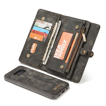 CaseMe Vintage PU Leather Magnetic Detachable Zipper Wallet Case For Samsung Galaxy S8