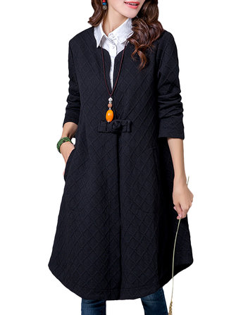 Vintage Women Plaid Pankou Long Sleeve Solid Cotton Coat