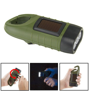 Solar Powered Hand Crank 3 LED Flashlight With Clip Emergency Light Outdoor Camping Fishing Lamp