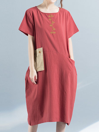 Women Short Sleeve Loose Embroidery Pocket Dresses
