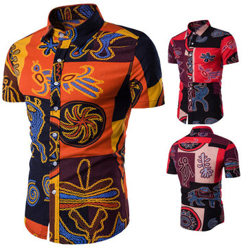 Ethnic Printing Slim Fit Fashion Stylish Short Sleeve Shirts