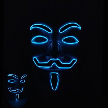 Halloween LED Glowing Vendetta EL Mask Light up for Cosplay Party