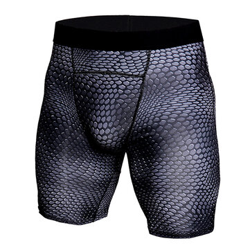 Crocodile Grain Printing Quick Dry Gym Sports Tight Shorts